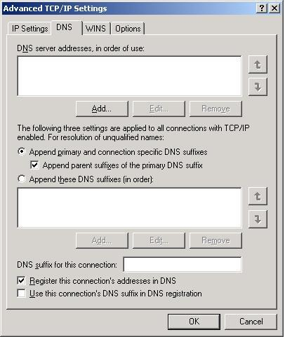 XP Advanced DNS settings