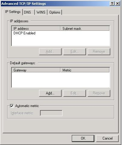 XP Advanced IP Settings