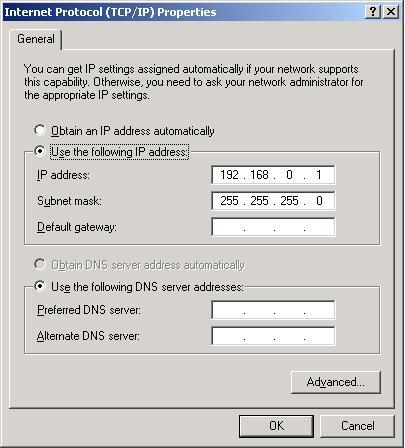XP ICS Internal NIC TCP/IP Setup